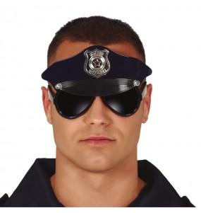 Os óculos mais engraçados polícia con boné para festas de fantasia
