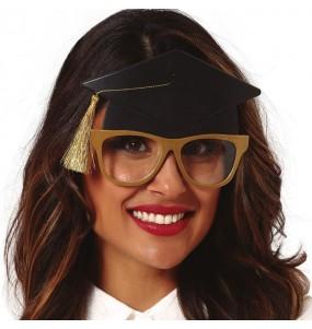 Os óculos mais engraçados estudante com capelo para festas de fantasia