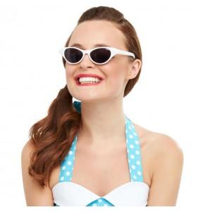 Os óculos mais engraçados Grease brancos para festas de fantasia