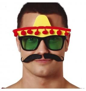 Os óculos mais engraçados mexicano com sombrero para festas de fantasia