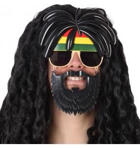 Os óculos mais engraçados Rastafari com barba para festas de fantasia