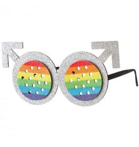 Os óculos mais engraçados Round Rainbow para festas de fantasia