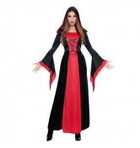 Fato de Vampira da meia-noite mulher para a noite de Halloween