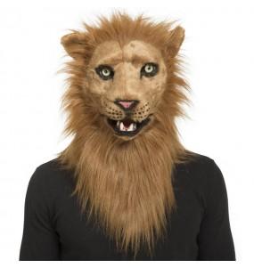 Máscara leão com mandíbula móvel para completar o seu fato Halloween e Carnaval