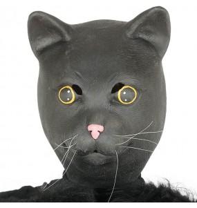Máscara gato de látex para completar o seu fato Halloween e Carnaval