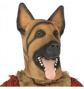 Máscara cão pastor alemão em látex para completar o seu fato Halloween e Carnaval