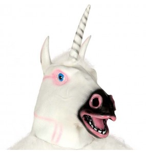 Máscara unicórnio de látex para completar o seu fato Halloween e Carnaval