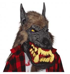 Máscara lobo gigante com cabelo