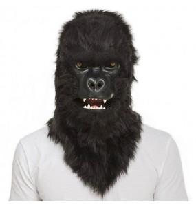 Máscara Gorilla King Kong com mandíbula móvel para completar o seu fato Halloween e Carnaval