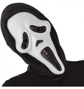Máscara Scream com capuz para completar o seu fato Halloween e Carnaval