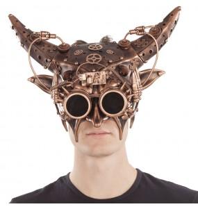 Máscara steampunk com chifres para completar o seu fato Halloween e Carnaval