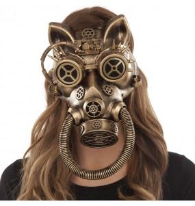 Máscara Felina de Steampunk para completar o seu fato Halloween e Carnaval