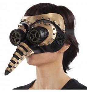 Máscara steampunk com nariz para completar o seu fato Halloween e Carnaval
