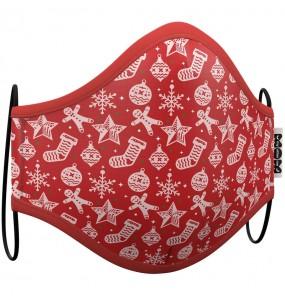 Máscara Natal Vermelha de proteção para crianças