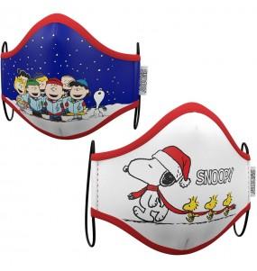Mascarilla infantil de Snoopy Navidad