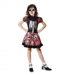 Disfarce Halloween Catrina de Dia dos Mortos meninas para uma festa Halloween