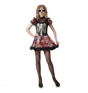 Fato de Catrina de Dia dos Mortos mulher para a noite de Halloween