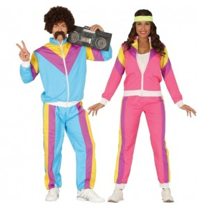O casal treino retrô original e engraçado para se disfraçar com o seu parceiro