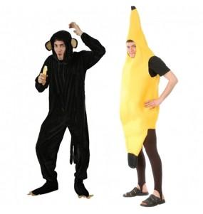O casal Macaco Chimpanzé e Banana original e engraçado para se disfraçar com o seu parceiro
