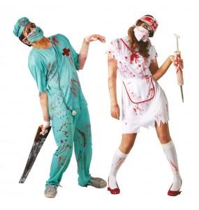O casal Cirurgião e enfermeira zombie original e engraçado para se disfraçar com o seu parceiro