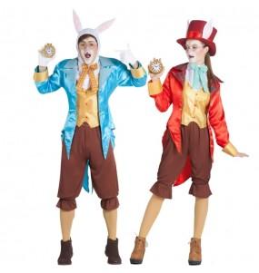 O casal Coelhos Alice no País das Maravilhas original e engraçado para se disfraçar com o seu parceiro