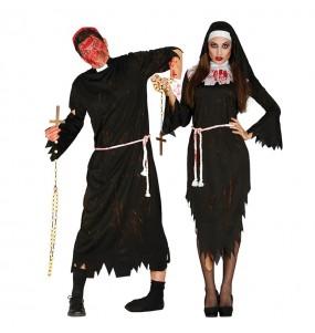 O casal Padre e Freira zombies original e engraçado para se disfraçar com o seu parceiro