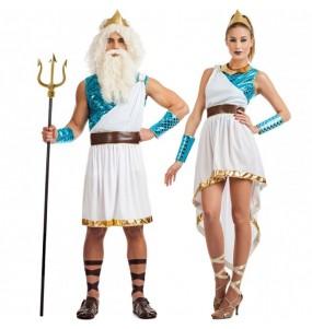 O casal Deuses do mar original e engraçado para se disfraçar com o seu parceiro
