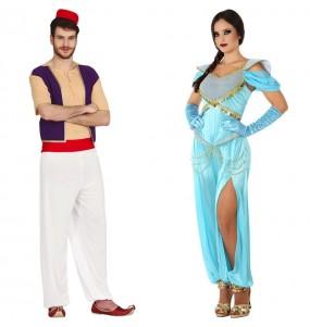 O casal Aladdin e Princesa Jasmine original e engraçado para se disfraçar com o seu parceiro