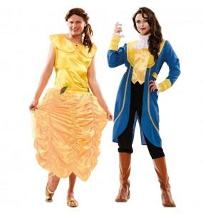 O casal Princesa A Bela e o Monstro original e engraçado para se disfraçar com o seu parceiro