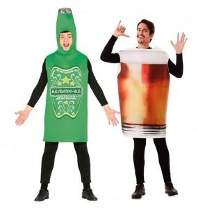 O casal Garrafa e Copo Cerveja original e engraçado para se disfraçar com o seu parceiro