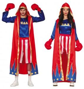 O casal Boxeadores Americanos original e engraçado para se disfraçar com o seu parceiro