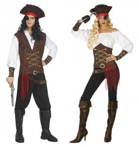 Fatos de casal Capitães navio pirata