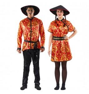 O casal chinês grande dragão original e engraçado para se disfraçar com o seu parceiro
