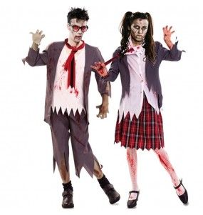 O casal estudantes zombies sangrentos original e engraçado para se disfraçar com o seu parceiro