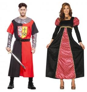 O casal Cruzado Medieval e Princesa da corte original e engraçado para se disfraçar com o seu parceiro