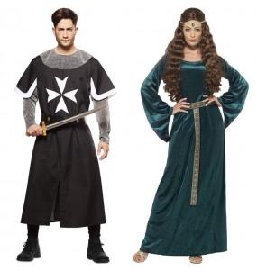 O casal cruzados e rainha medieval original e engraçado para se disfraçar com o seu parceiro