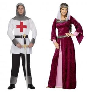 O casal Cruzados medievais original e engraçado para se disfraçar com o seu parceiro