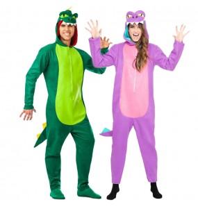 O casal dinossauros original e engraçado para se disfraçar com o seu parceiro