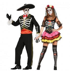 O casal Esqueletos Mexicanos Catrina original e engraçado para se disfraçar com o seu parceiro