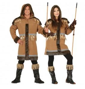 O casal Esquimós do Polo Norte original e engraçado para se disfraçar com o seu parceiro