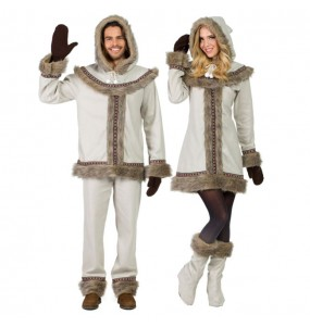 O casal Esquimó siberiano original e engraçado para se disfraçar com o seu parceiro