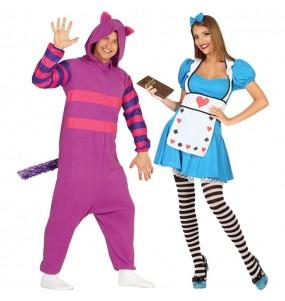 O casal Gato Chesire e Alice no País das Maravilhas original e engraçado para se disfraçar com o seu parceiro