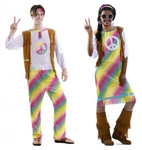 O casal hippies de arco-íris original e engraçado para se disfraçar com o seu parceiro