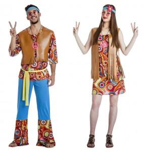 O casal Hippies Happy original e engraçado para se disfraçar com o seu parceiro