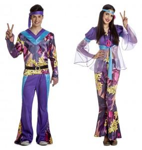 O casal Hippies púrpuras original e engraçado para se disfraçar com o seu parceiro