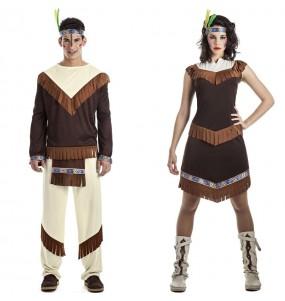 O casal Índios cherokee original e engraçado para se disfraçar com o seu parceiro