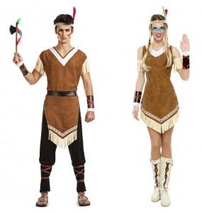 O casal Índios moicanos original e engraçado para se disfraçar com o seu parceiro