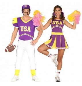 O casal Jogador Futebol americano e Animadora original e engraçado para se disfraçar com o seu parceiro