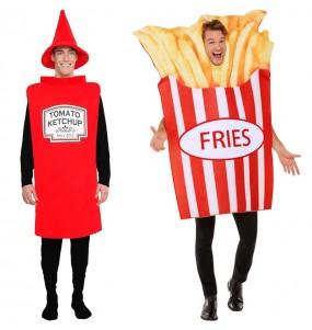 O casal Ketchup e Batatas Fritas original e engraçado para se disfraçar com o seu parceiro