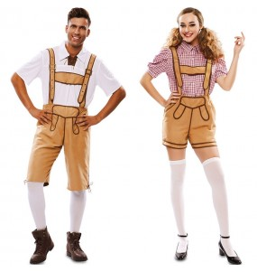 O casal Lederhose Oktoberfest original e engraçado para se disfraçar com o seu parceiro